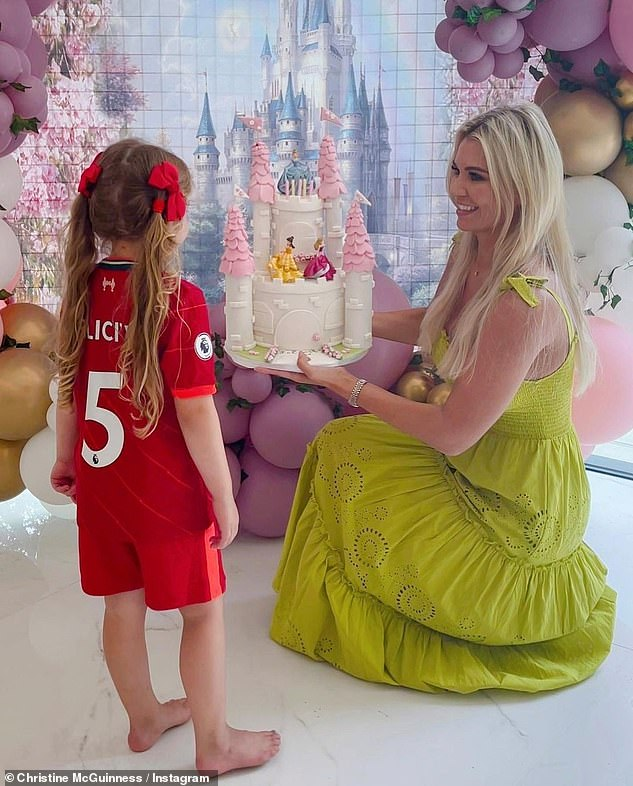 Happy Birthday: Christine celebrated her daughter Felicity's fifth birthday with a princess-themed party last week
