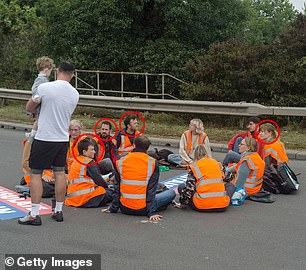 Pictured yesterday: The same protesters are pictured on the M25