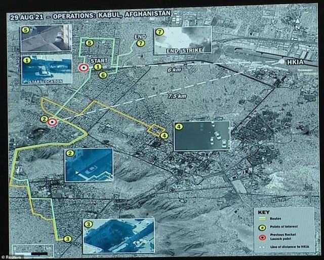Map of Ahmadi's route before he was killed