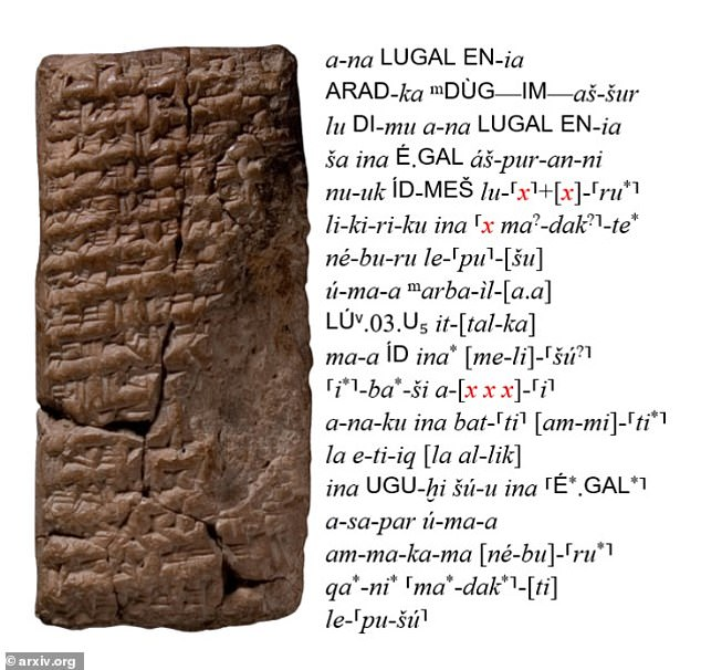 A clay tablet with its corresponding Latin transliteration.  Parts of text that are missing due to malformation are indicated with an 'x' and highlighted in red.