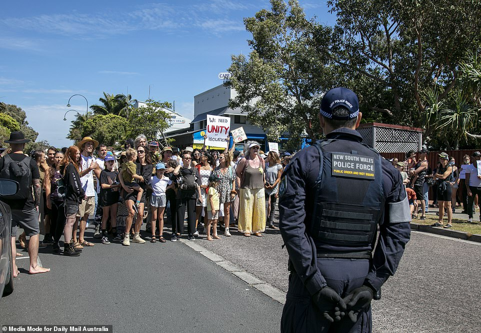 Despite a series of arrests, the anti-lockdown protest in Byron Bay on Saturday was fairly peaceful