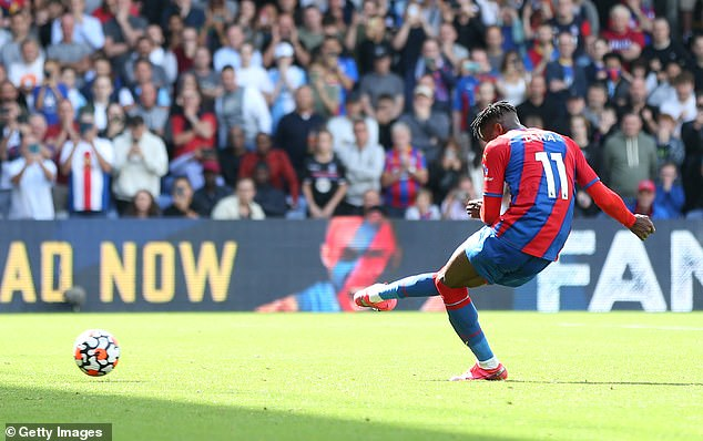 Zaha got off to a flying start in the 2021-2022 campaign by scoring from the penalty spot in the Eagles 3-0 win over Tottenham last week (above)