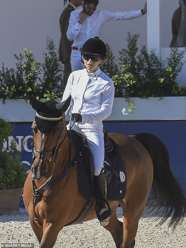 Multi-faceted: Mary-Kate Olsen (pictured), 35, is a skilled rider as she placed THIRD at the Longines Global Champions Tour in Rome on Saturday