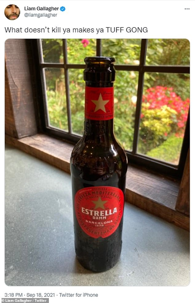Delicious: Clearly taking matters into his own hands after the almost life-threatening incident, he then posted a refreshing bottle of Estrella on his profile, with the caption: