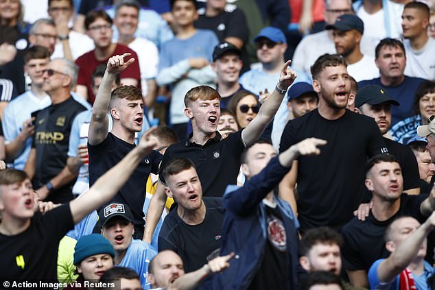 City supporters sing 'We've Got Guardiola' after a week when they called for more fans to attend