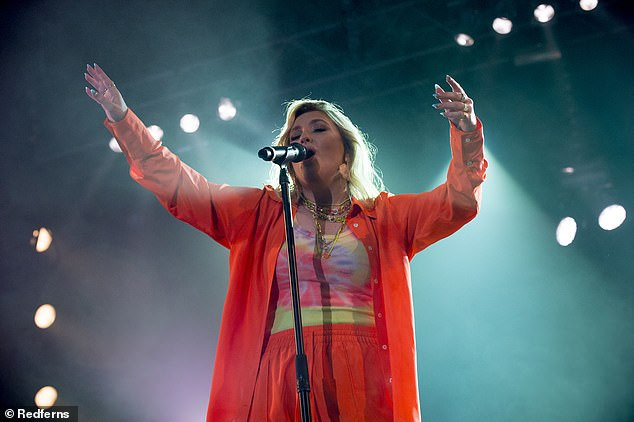 Stylish: Ronan wasn't the only star to make a stylish name for herself at the festival, Ella Henderson also took to the stage on Saturday - looking incredible in a bright ensemble