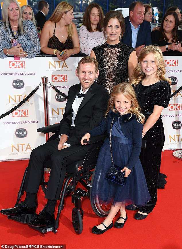 Rob Burrow with his wife Lindsay and daughters at this year's National Television Awards