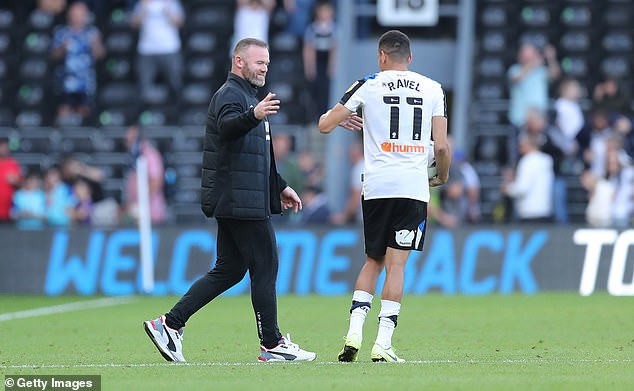 Derby's points deduction could reportedly be extended to 24 points should they fail to pay manager Wayne Rooney (left) and his players by the end of the month