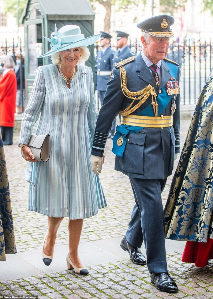 The royal couple arrived at Westminster Abbey service on Sunday to remember those who lost in the Battle of Britain.  Prince Charles, 72, wore a full military uniform, while the Duchess of Cornwall looked chic in a striped blue dress-jacket and wide-brimmed hat, with three-tiered pearls and a cream leather clutch bag, to complete the look. was doing.