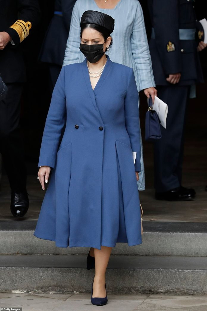 Later, Ms Patel walked out of Westminster Abbey from service wearing a black face covering and headed to Church House for a military fly-past.