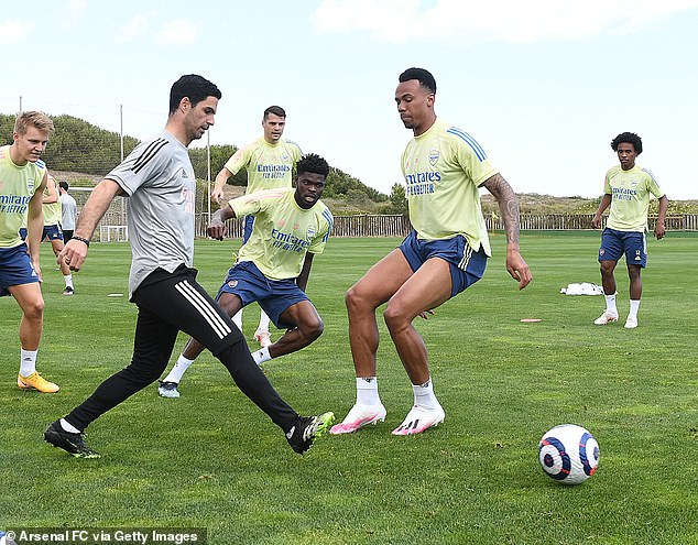 Arsenal boss Mikel Arteta (second left) says Gabriel (second right) has an 'incredible future'