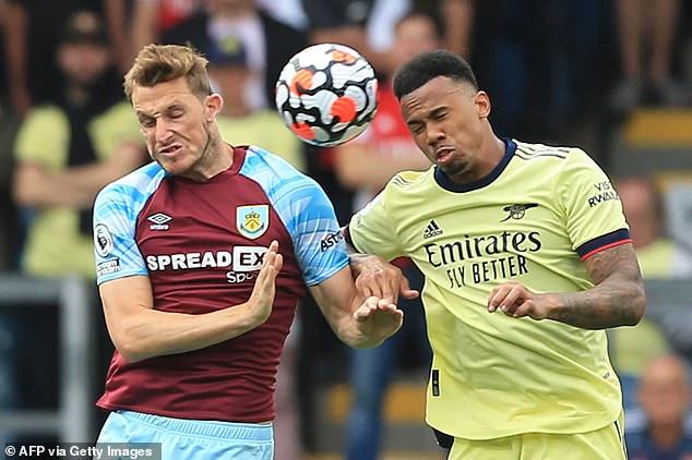 Arteta described Gabriel (right) as terrific as the Gunners won 1-0 away at Burnley on Saturday