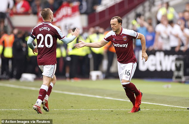 Mark Noble was given a chance to level the score with a penalty for Jerrod Bowen