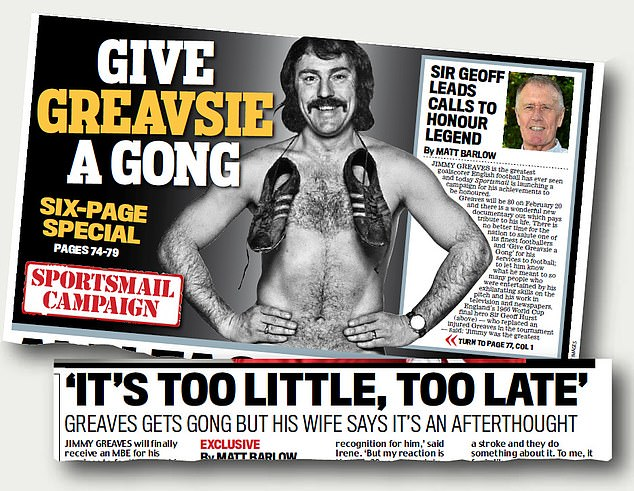 Sportsmail launched a campaign to get Greaves recognition in the British honours system
