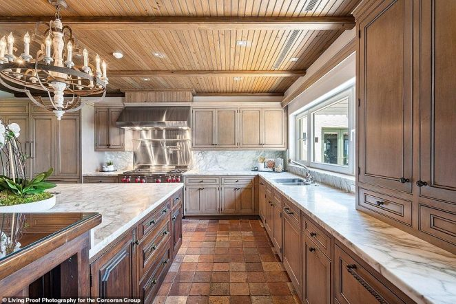 There is a large chef's eat-in kitchen inside the house