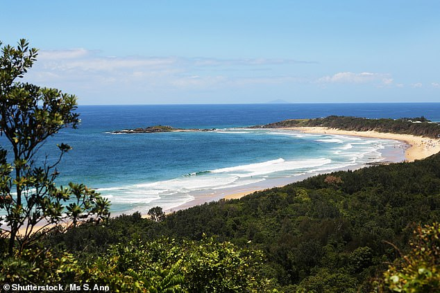The 16 year old was one of more than 100 at the lockdown-breaking party on Sawtell Beach (pictured) near Coffs Harbour on the North NSW coast