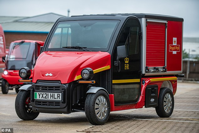 About the size of a golf buggy, this is one of the micro electric vehicles being tested by Royal Mail as it tries to cut emissions. Two specially designed vehicles will be assessed for six months delivering letters and small parcels in Edinburgh, Crewe, Liverpool, Swindon and London