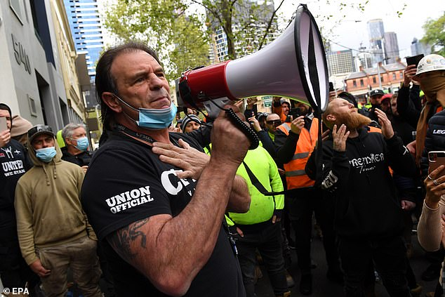 CFMEU Victorian secretary John Sekta's attempts to calm down construction workers fell on deaf ears