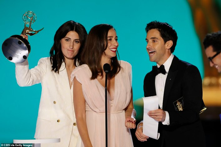 Teamwork: The writers of HBO's acclaimed comedy series Hacks won the award for Writing for a Comedy Series. Lucia Aniello (Center), Paul W. Downs (R) and Jen Statsky (L), who all wrote the pilot episode, accepted the award together
