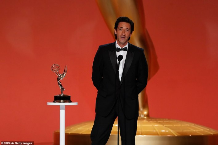 Across the pond: Adrien Brody presented Outstanding Drama Series to The Crown, though he was in Los Angeles and most of the show's cast and crew were in London
