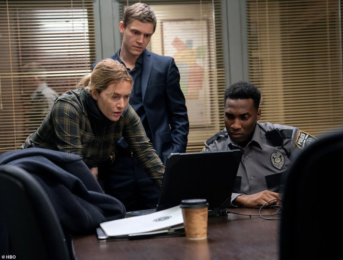 Two heads are better than one: Peters costarred with Winslet as a higher-profile county detective brought in to assist Mare's investigation