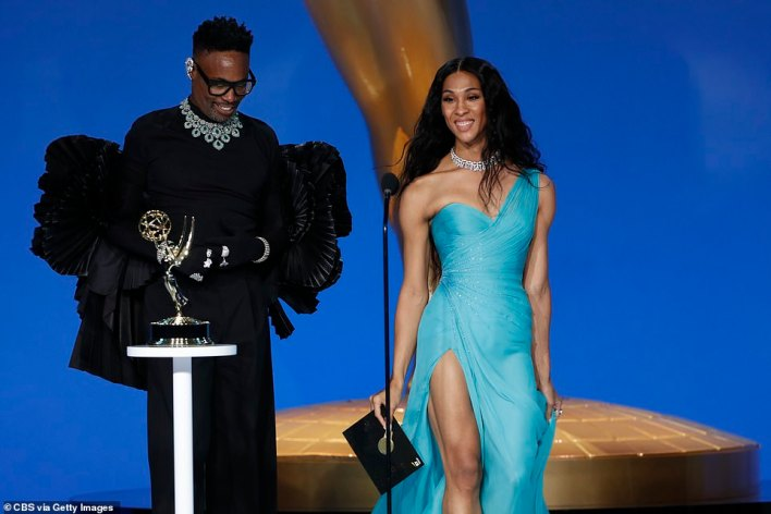 History: Mj Rodriguez made history as the first transgender performer to pick up an Emmy nomination in a major acting category, though she lost out on the award for Lead Actress in a Drama series to Olivia Colman; pictured with Pose costar Billy Porter