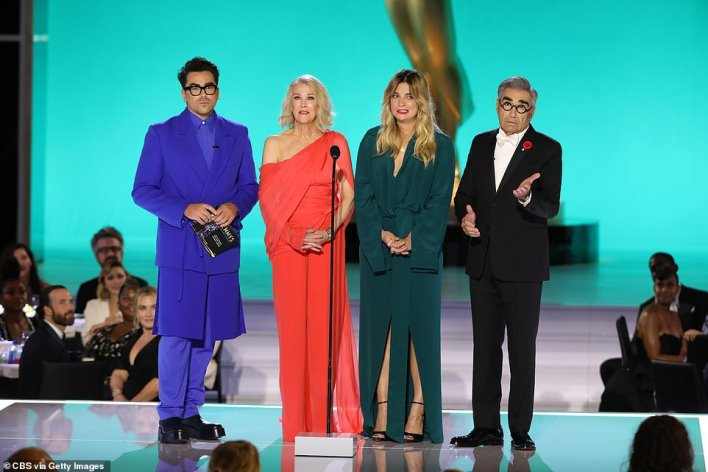 Whoops! Schitt's Creek stars (L–R) Dan Levy, Catherine O'Hara, Annie Murphy and Eugene Levy had the audience in stitches when they didn't have anything to read on the teleprompter while presenting for Best Writing for a Comedy Series