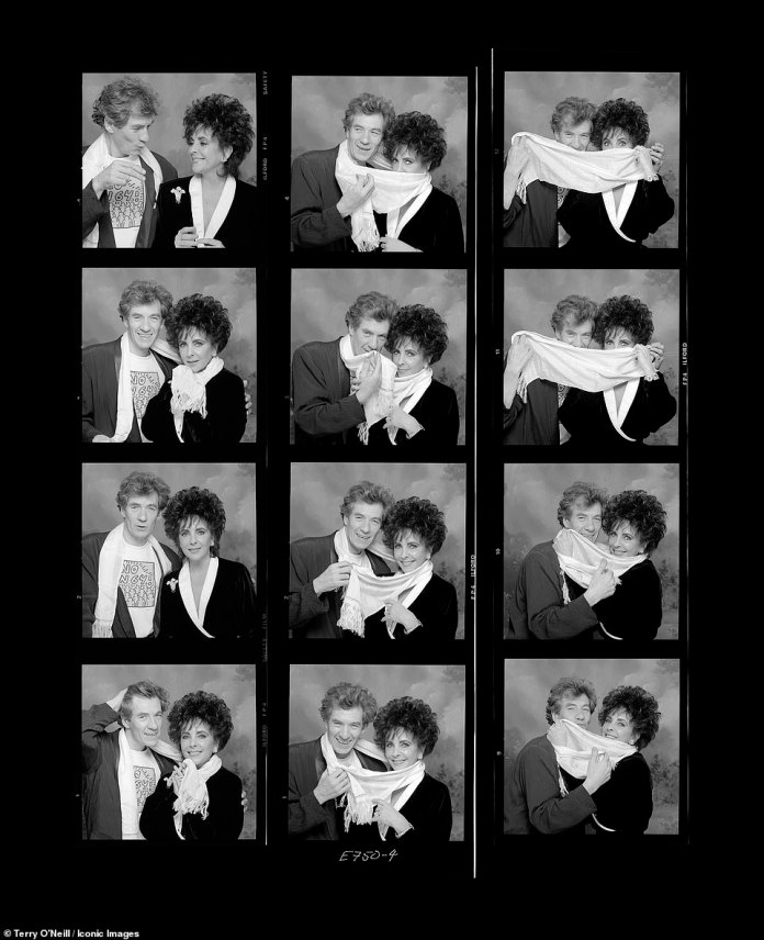 British star Ian McKellen of stage and screen with Taylor in these photos for photographer Terry O'Neill in the late 1980s