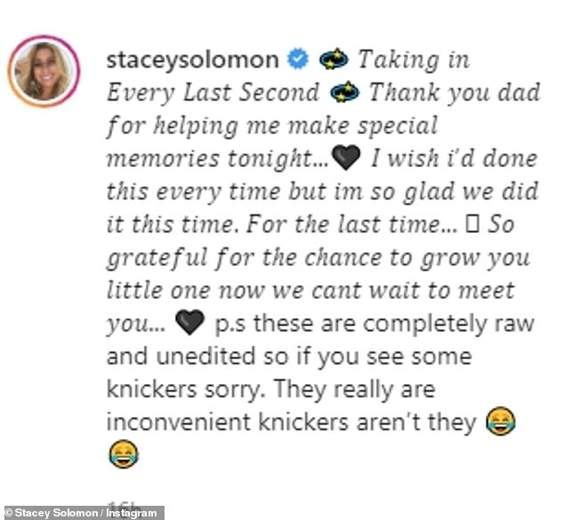 Proud: She wrote in the caption: 'Taking in every last second.  Thank you Dad for helping me make special memories tonight... I wish I did it every time, but I'm glad we did it this time.  Last time...'