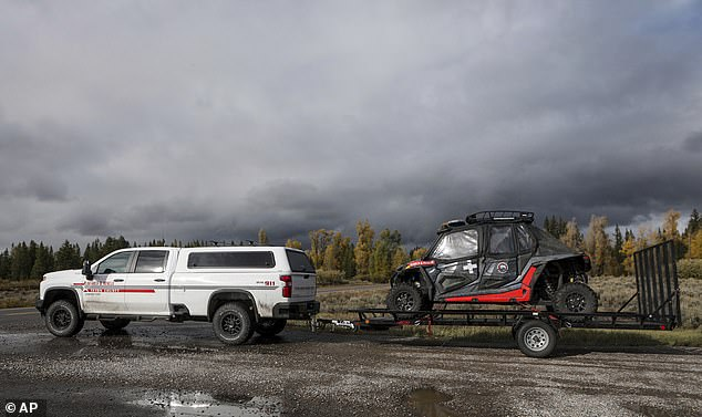Teton County Search & Rescue seen leaving the Spread Creek area of the Bridger-Teton National Forest