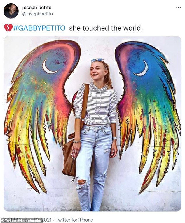 Joseph Petito, father of missing van-girl Gabby Petito, posted a picture of his daughter on social media with the caption 'She touched the world'