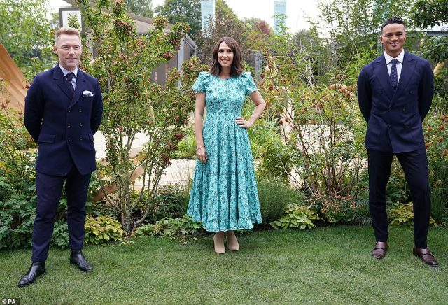 Ronan Keating, Alex Jones, wearing a beautiful floral number and Jermaine Jenas opened the BBC One Show and RHS Garden of Hope today