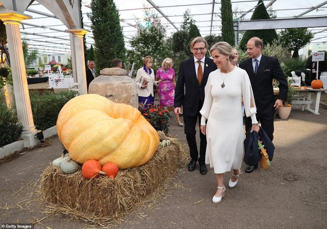 Sophie walks past a pumpkin at the show which will have an autumnal theme this year.Prince Edward and Sophie Wessex, Princess Anne , Princess Alexandria and the Duke and Duchess of Gloucester, represented the royal family instead of the Queen