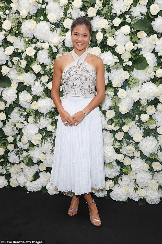 She stepped out in a glimmering white ensemble for a London Fashion Week event on Monday