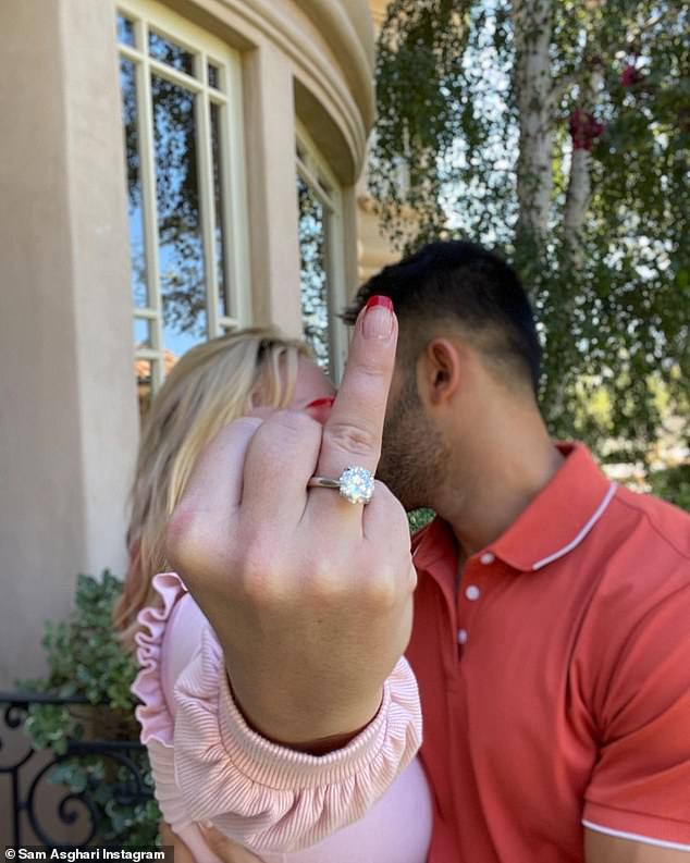 'Worth the wait': Following five years of dating the personal trainer and aspiring actor Britney wrote 'I can't f**king believe it' adding that the proposal was 'worth the wait'