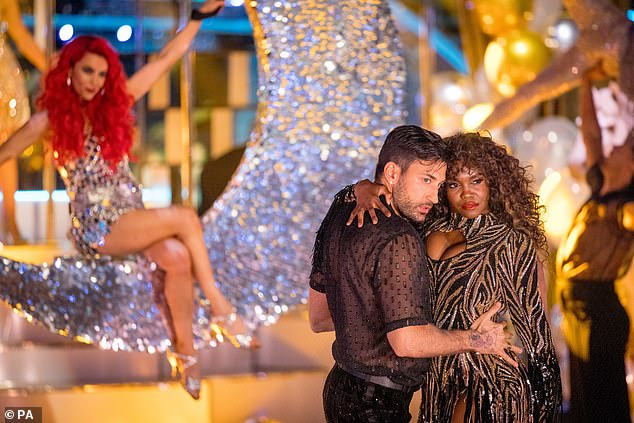 Drama: Strictly Come Dancing reportedly sees a third professional dancer being denied a COVID vaccination (Giovanni Pernis and Oti Mabuse pictured)