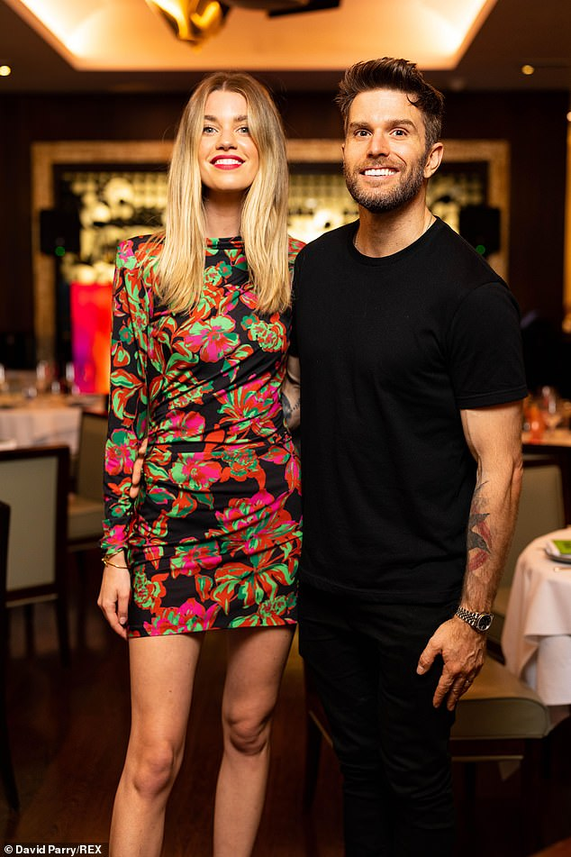 Artfully done:Joel Dommett stepped out in London on Monday evening with his glam wife Hannah Cooper to take in some art