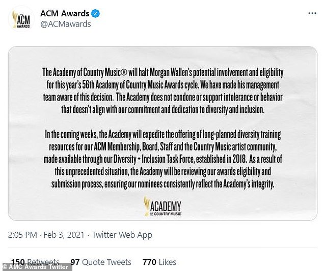 The Academy of Country Music deemed Wallen ineligible for awards after the controversy