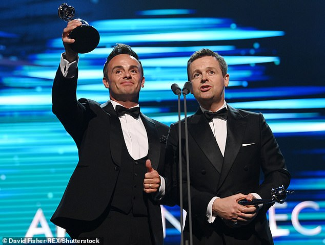Success: Ant and Dec win Best Presenter Gong at the National Television Awards this month for the 20th time in a row