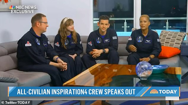 The all-civilian crew of SpaceX's Inspiration 4 mission said the three-day trip to space was
