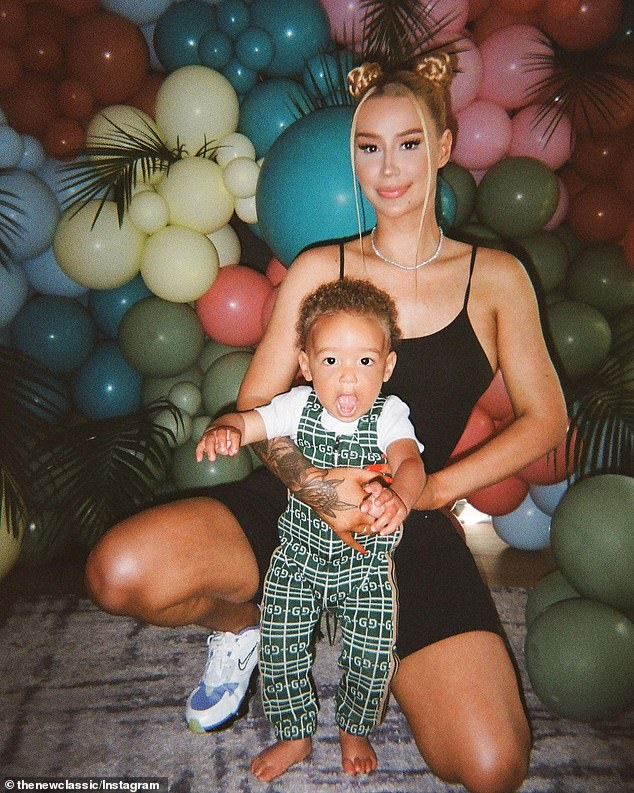 Struggle: Iggy, who shares 16-month-old son Onyx (pictured) with ex-boyfriend Playboi Carti, told a fan on Twitter she'd been sleep deprived for 'over a year'