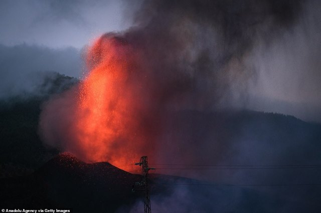 The eruption is known as 'strombolic' - named after the volcanic island of Stromboli in Italy - and mostly involves hot gasses being released from underground that fling clumps of molten rock into the air (pictured)