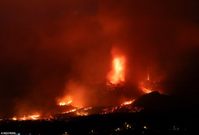 Lava is now flowing from the volcano to La Palma's west coast where it is expected to fall into the ocean today, creating a toxic cloud with police setting up an exclusion zone to keep people away