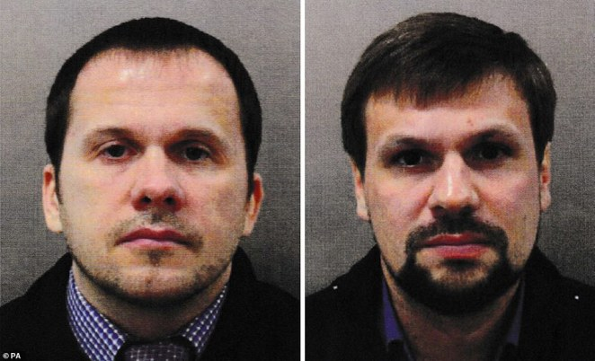 Alexander Petrov (left) and Ruslan Boshirov, the two other Russian military intelligence officers accused of carrying out the poisoning