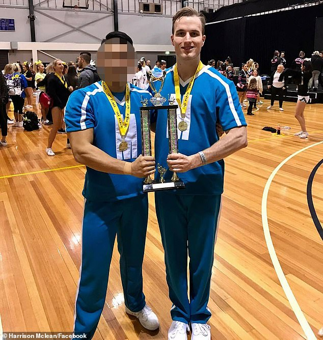 Mr Mclean was also a competitive cheerleader, winning a tournament in June 2017 and posing with a teammate with their trophy for a celebratory photo