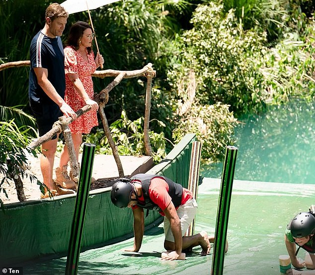 The person responsible for the snap Byron and Tweed shire lockdown is a crew member on I'm A Celebrity… Get Me Out Of Here! Australia Pictured: Hosts Chris Brown and Julia Morris