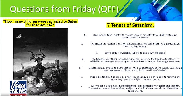Carlson attempted to bolster his brazen claim on-air with a strange PowerPoint slide that lists the seven tenets of Satanism, that he said he obtained from the US Army