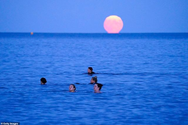 Swimmers took to the sea to swim under the Harvest Moon in Swanpool Beach, Falmouth, to mark the equinox