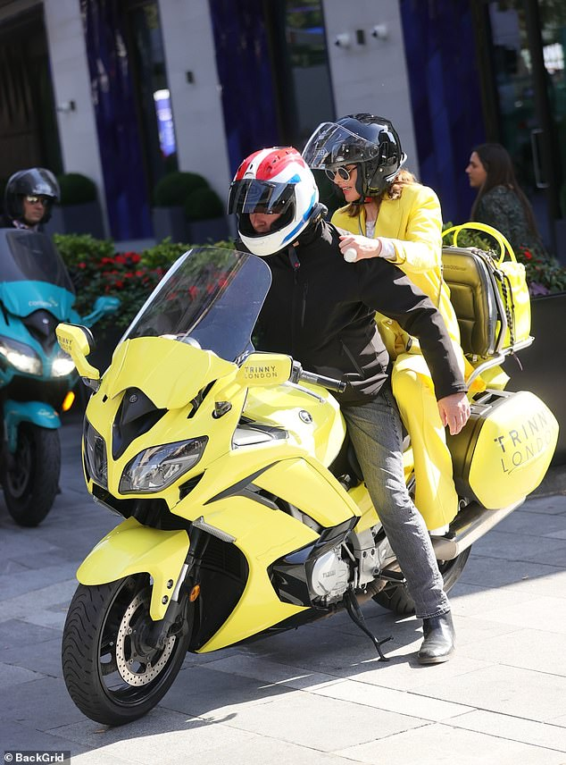 , Trinny stuns crowds in canary yellow on customisedbike for new range of Trinny London products, The Evepost BBC News
