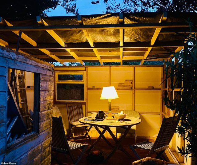 Doing the work himself meant the project was more time intensive than it would have otherwise been, with the work stretching out over several months. Pictured, an open-air seating area as the shed is slowly built